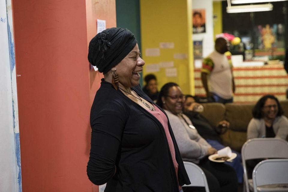"Khalida Smalls led a discussion of the significance of the upcoming release of ""Black Panther"" in Dorchester on Wednesday night."